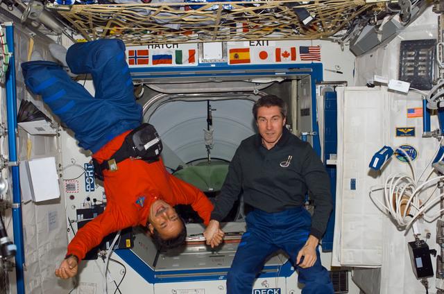 S114E7075 - STS-114 - Camarada and Krikalev inside Node 1