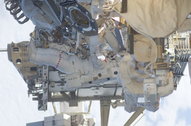 S115E05958 - STS-115 - STS-115 MS MacLean prepares the SARJ on the P3 - P4 Truss Segment during EVA