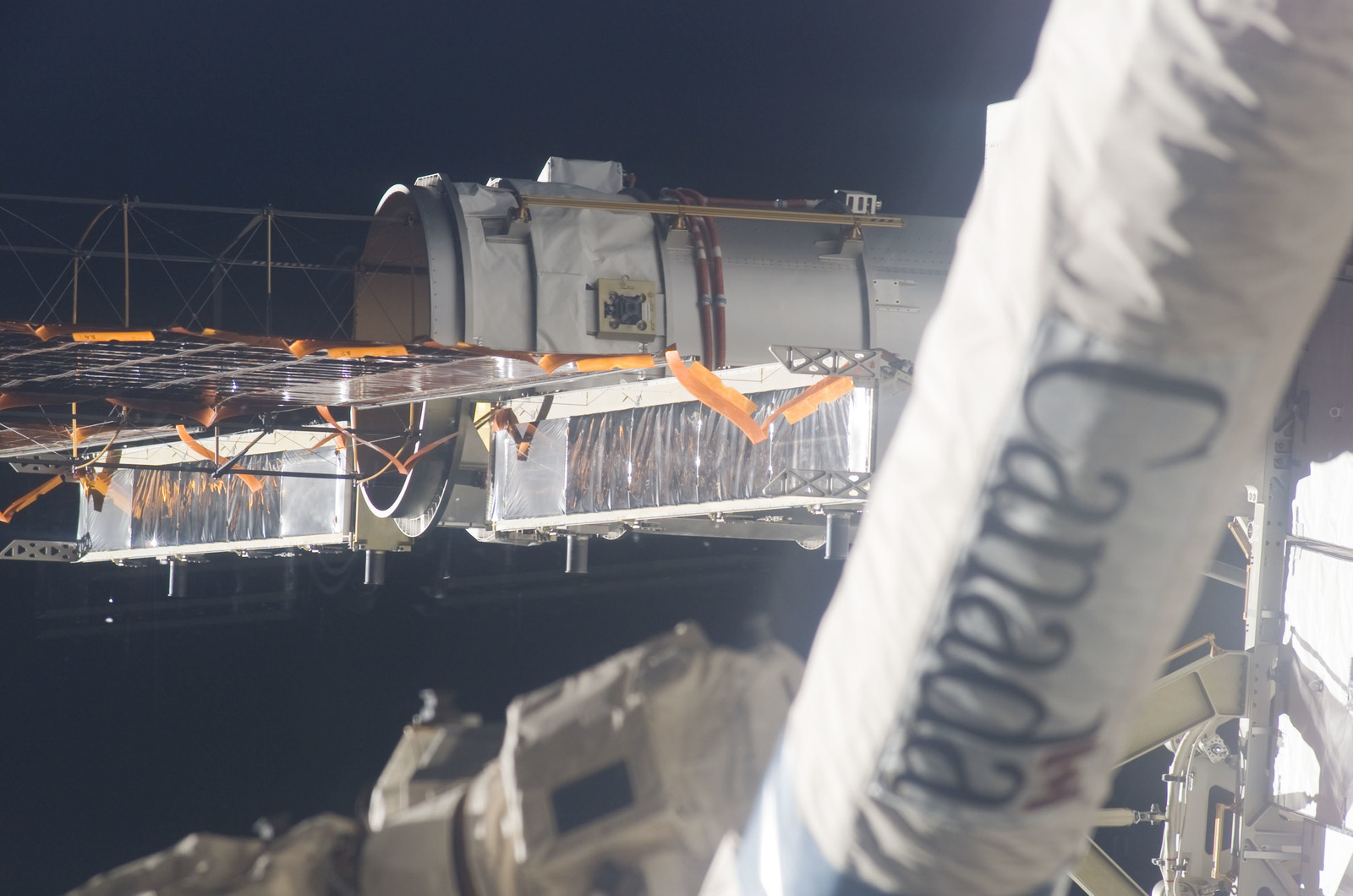 S115E06258 - STS-115 - P4 Truss SAW during third Extravehicular Activity (EVA)