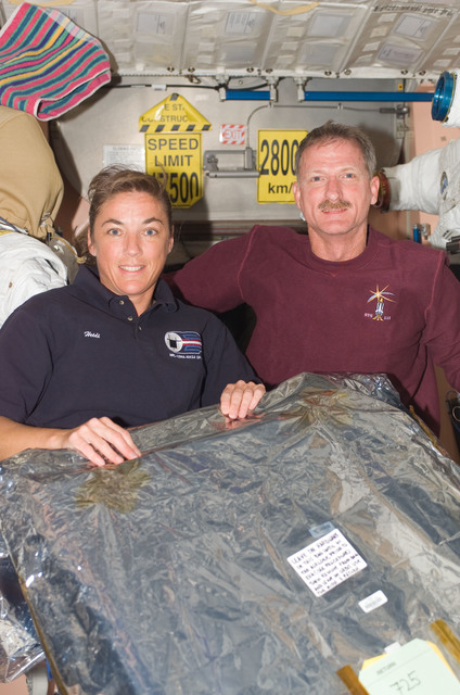 S115E07396 - STS-115 - STS-115 Stefanyshyn-Piper and Tanner pose in the Node 1 during Expedition 13 / STS-115 Joint Operations