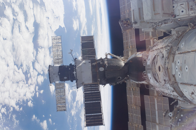 S118E06890 - STS-118 - View of docked Soyuz and Progress Spacecraft taken during STS-118