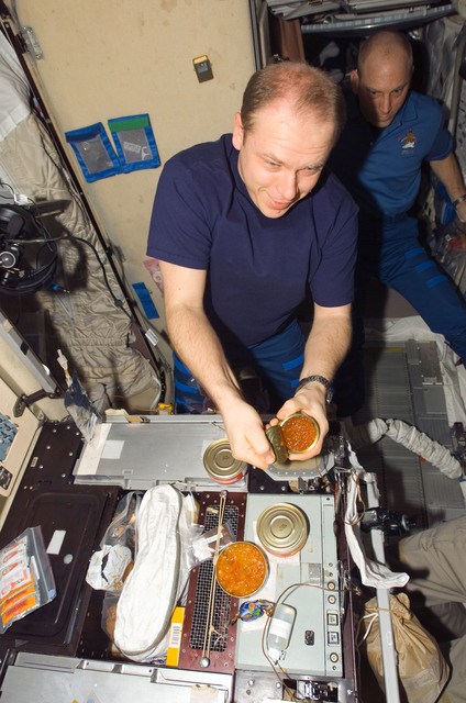 S118E09248 - STS-118 - View of FE Kotov preparing a meal in the SM