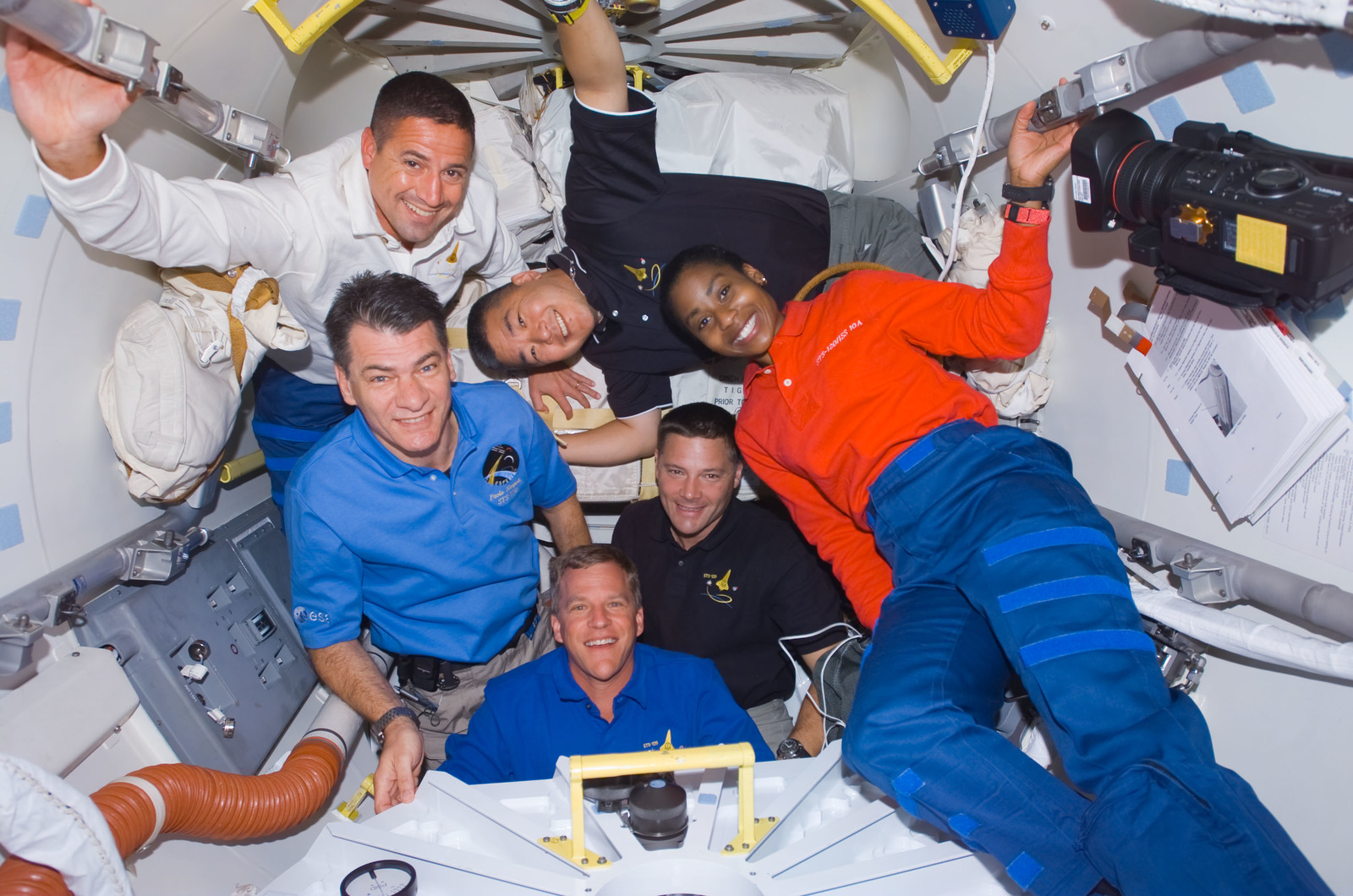 S120E006402 - STS-120 - STS-120 crew in the Orbiter Docking Compartment (ODC)