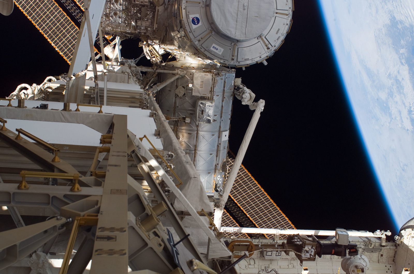 S120E008278 - STS-120 - EVA3 - Node 2 and Destiny laboratory module