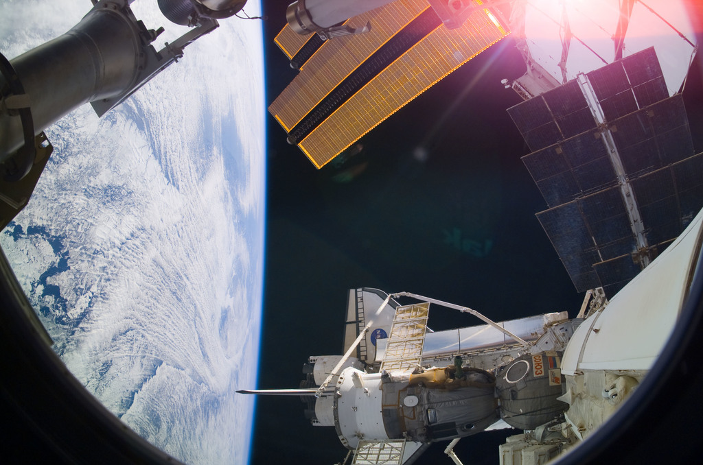 S122E009219 - STS-122 - ISS with docked Soyuz and Atlantis during Expedition 16/STS-122 Joint Operations
