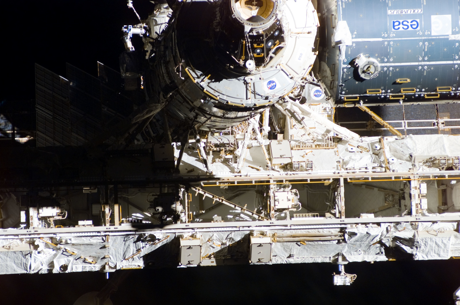 S122E009942 - STS-122 - Flyaround view of ISS after STS-122 Undocking