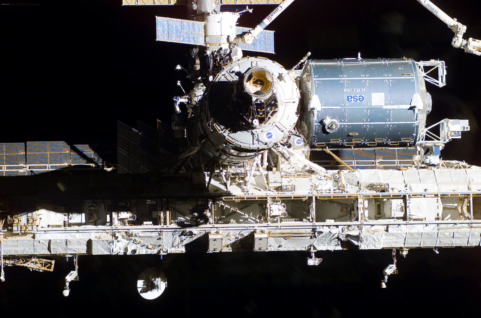 S122E009943 - STS-122 - Flyaround view of ISS after STS-122 Undocking