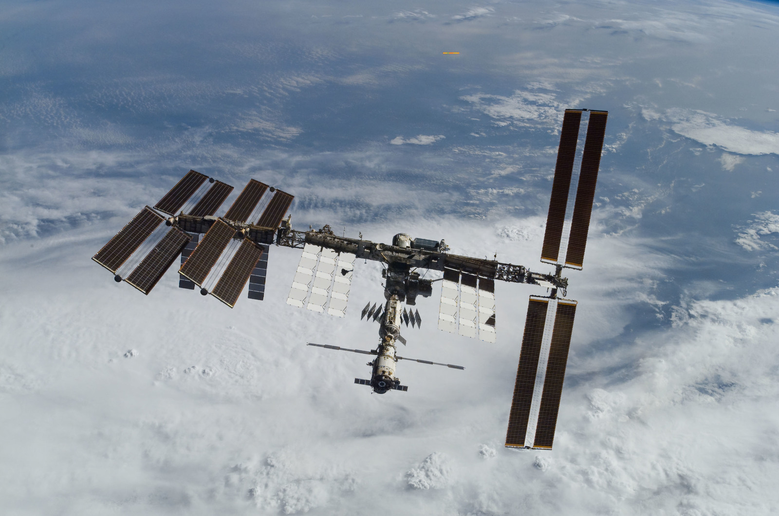 S122E010936 - STS-122 - View of ISS after STS-122 Undocking