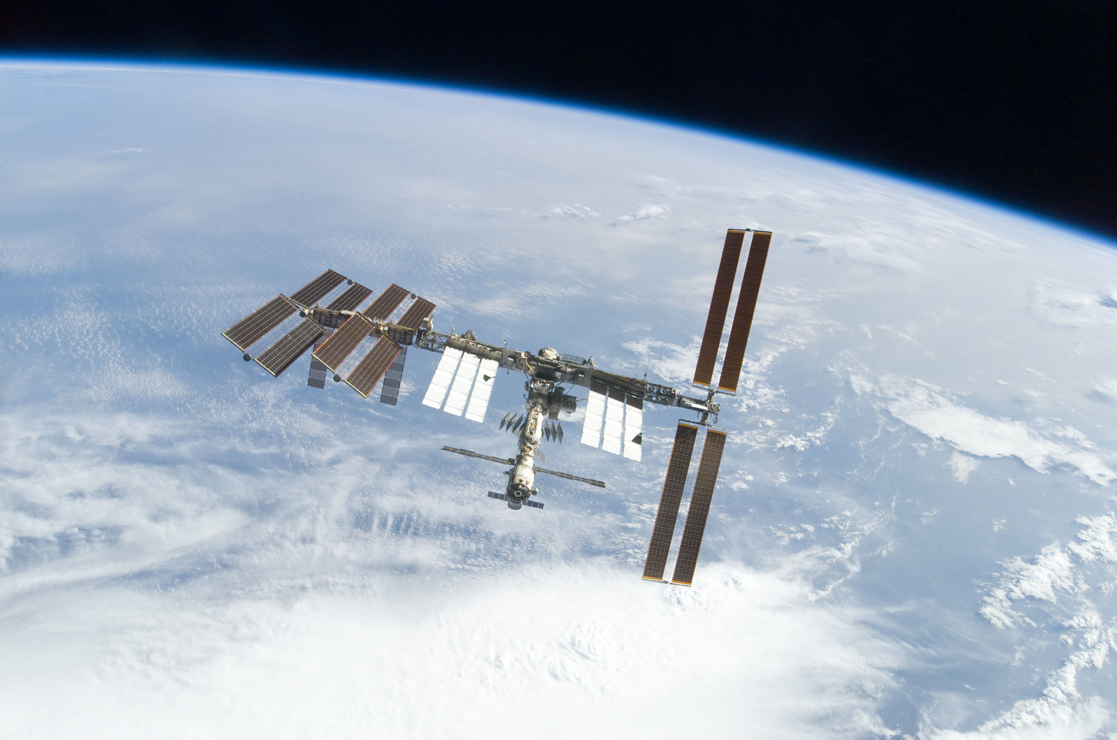 S122E010941 - STS-122 - View of ISS after STS-122 Undocking