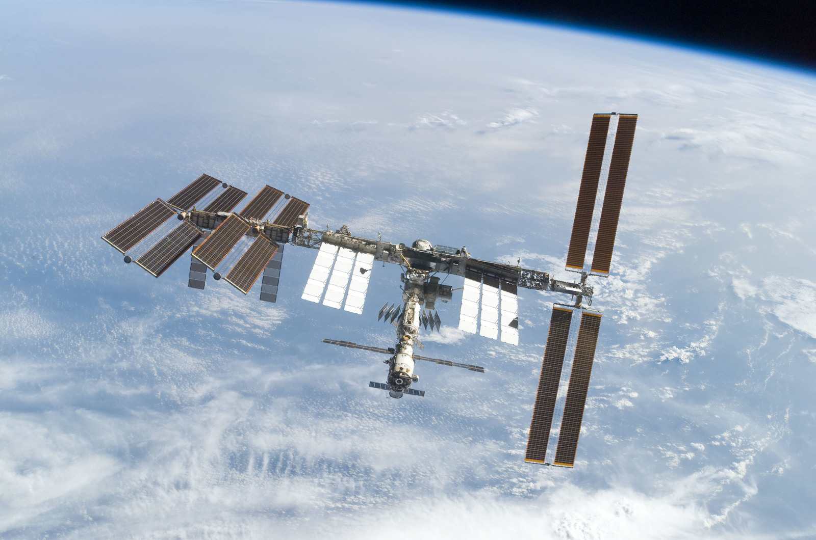 S122E010942 - STS-122 - View of ISS after STS-122 Undocking