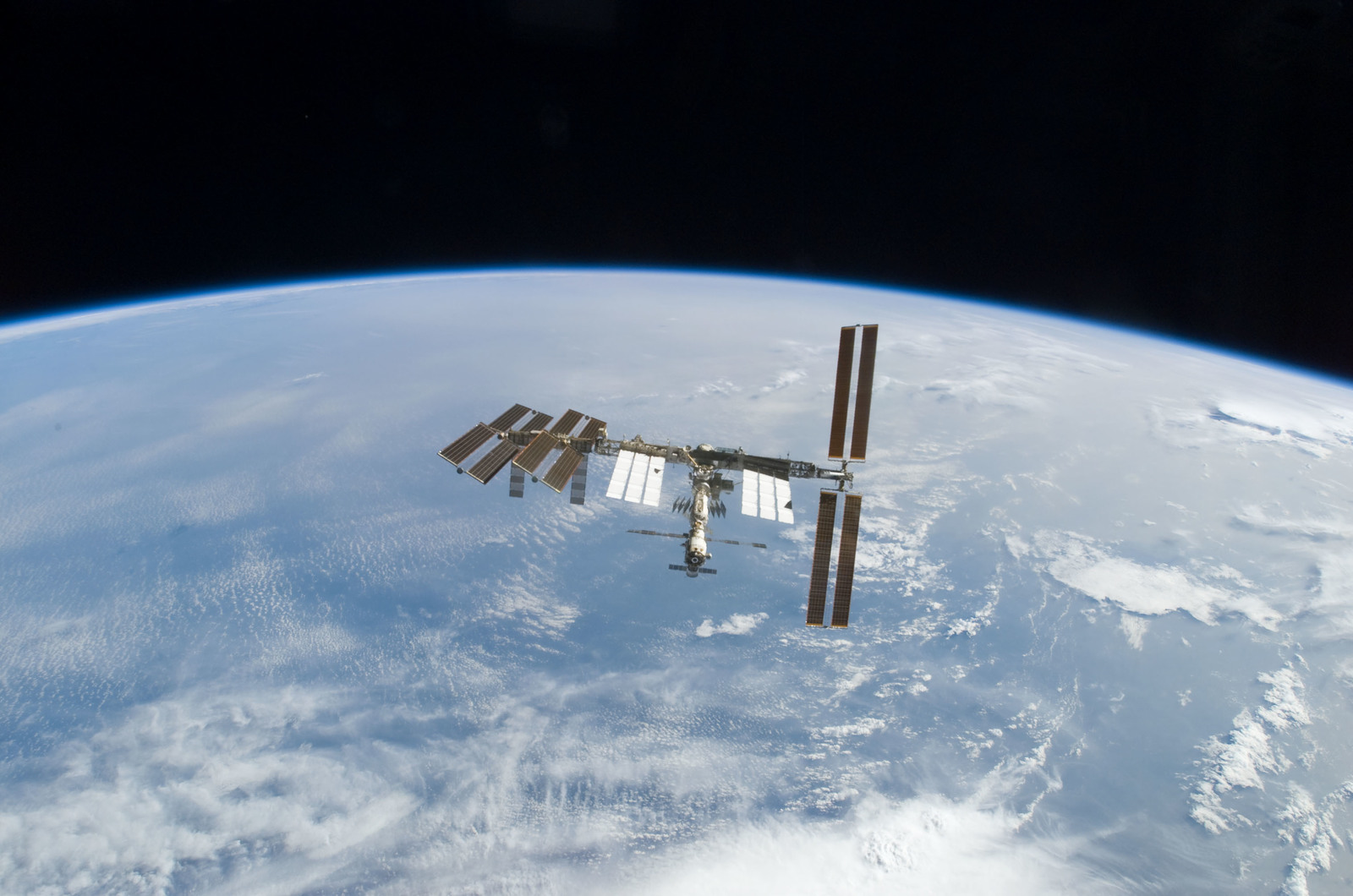 S122E010946 - STS-122 - View of ISS after STS-122 Undocking