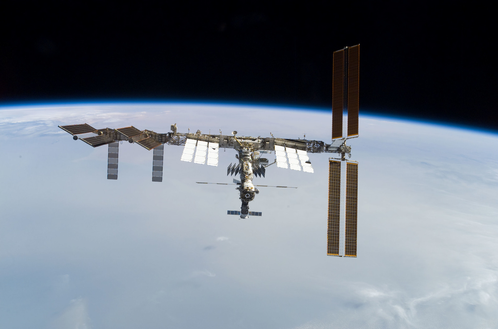 S122E010959 - STS-122 - View of ISS after STS-122 Undocking