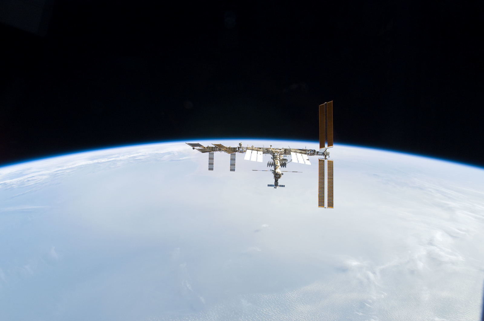 S122E010963 - STS-122 - View of ISS after STS-122 Undocking