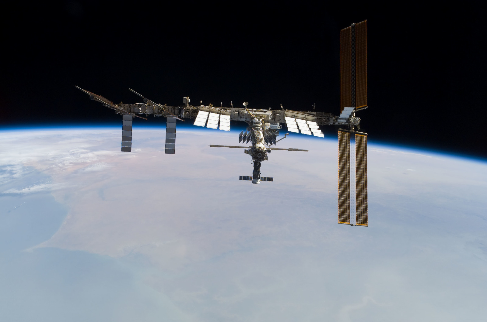 S122E010967 - STS-122 - View of ISS after STS-122 Undocking