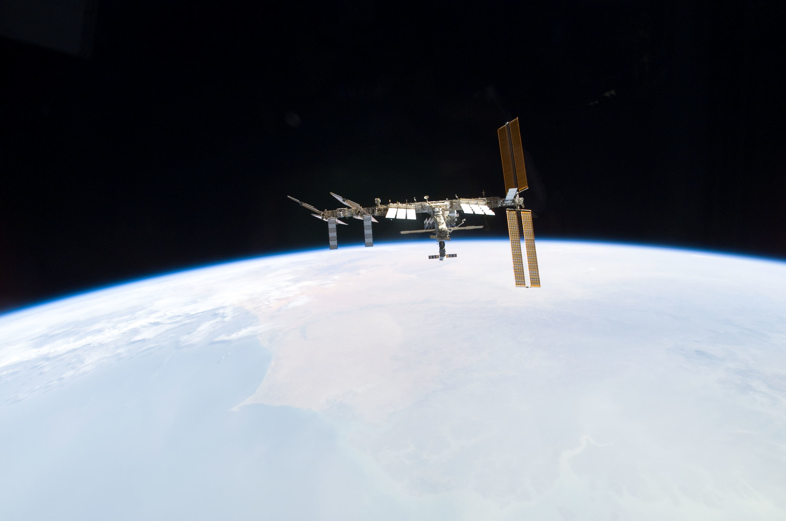 S122E010970 - STS-122 - View of ISS after STS-122 Undocking