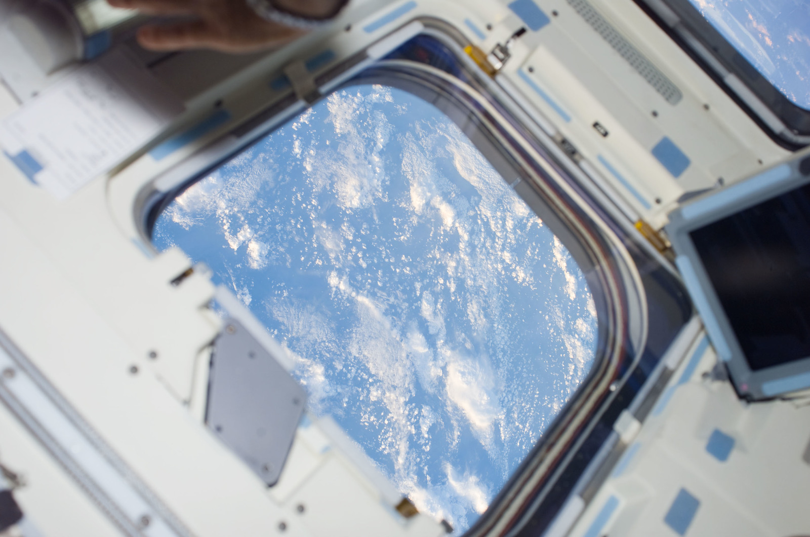 S123E005077 - STS-123 - Cloud coverage from the aft FD window during STS-123 mission