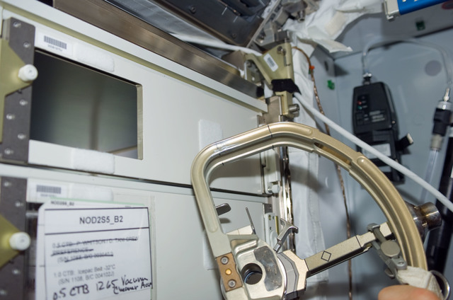 S123E006185 - STS-123 - Damaged D Handle in the Node 2 during STS-123 / Expedition 16 Joint Operations