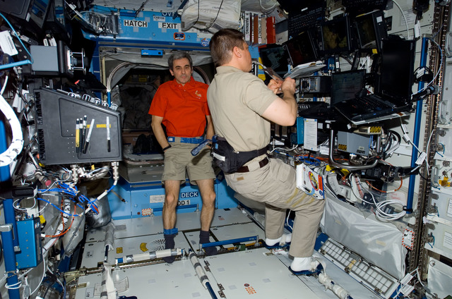 S123E006255 - STS-123 - STS-123 Crewmembers work at Robotic Controls during STS-123 / Expedition 16 Joint Operations