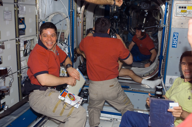 S123E006575 - STS-123 - Behnken and Malenchenko in the Node 2 during Joint Operations