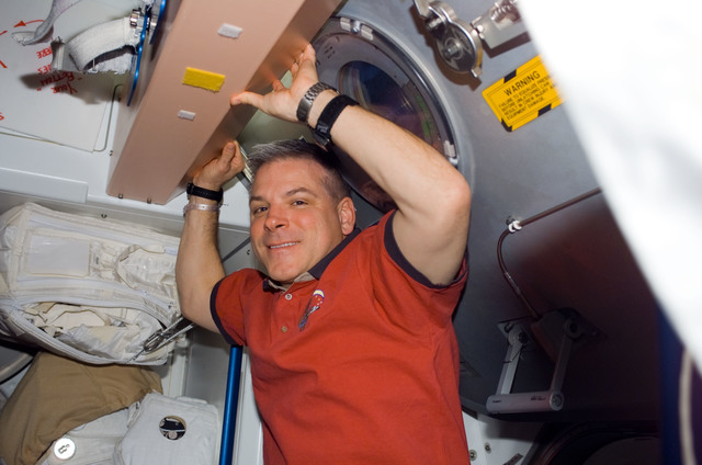 S123E006588 - STS-123 - Johnson in the Node 1 during Joint Operations