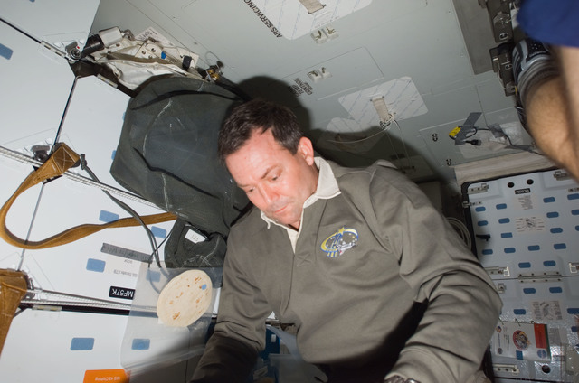 S123E006671 - STS-123 - Foreman looks at crew procedures in the aft Middeck (MDDK) during STS-123 / Expedition 16 Joint Operations