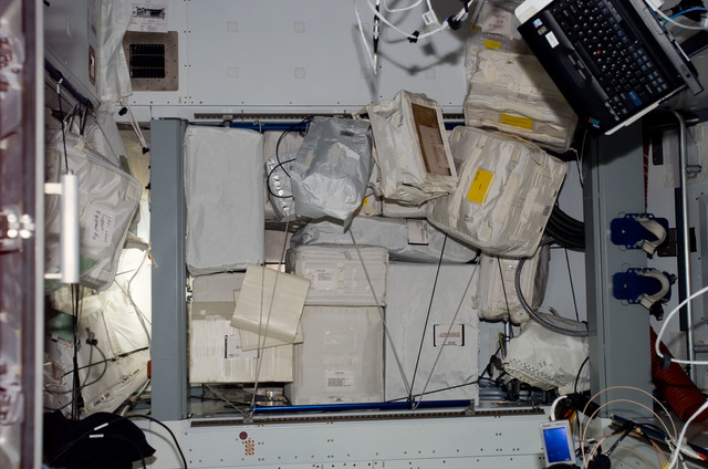 S123E007057 - STS-123 - Stowed items in Node 2 during Expedition 16 / STS-123 Joint Operations