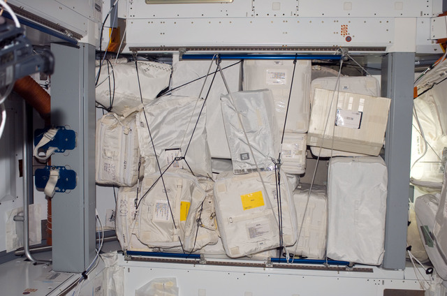 S123E007211 - STS-123 - Stowed equipment in the Node 2 during Expedition 16 / STS-123 Joint Operations