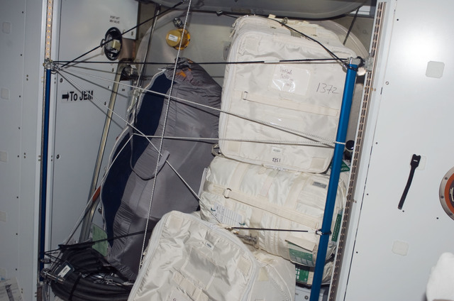 S123E008297 - STS-123 - Stowage bags in the Node 2 taken by STS-123 crewmember during Joint Operations