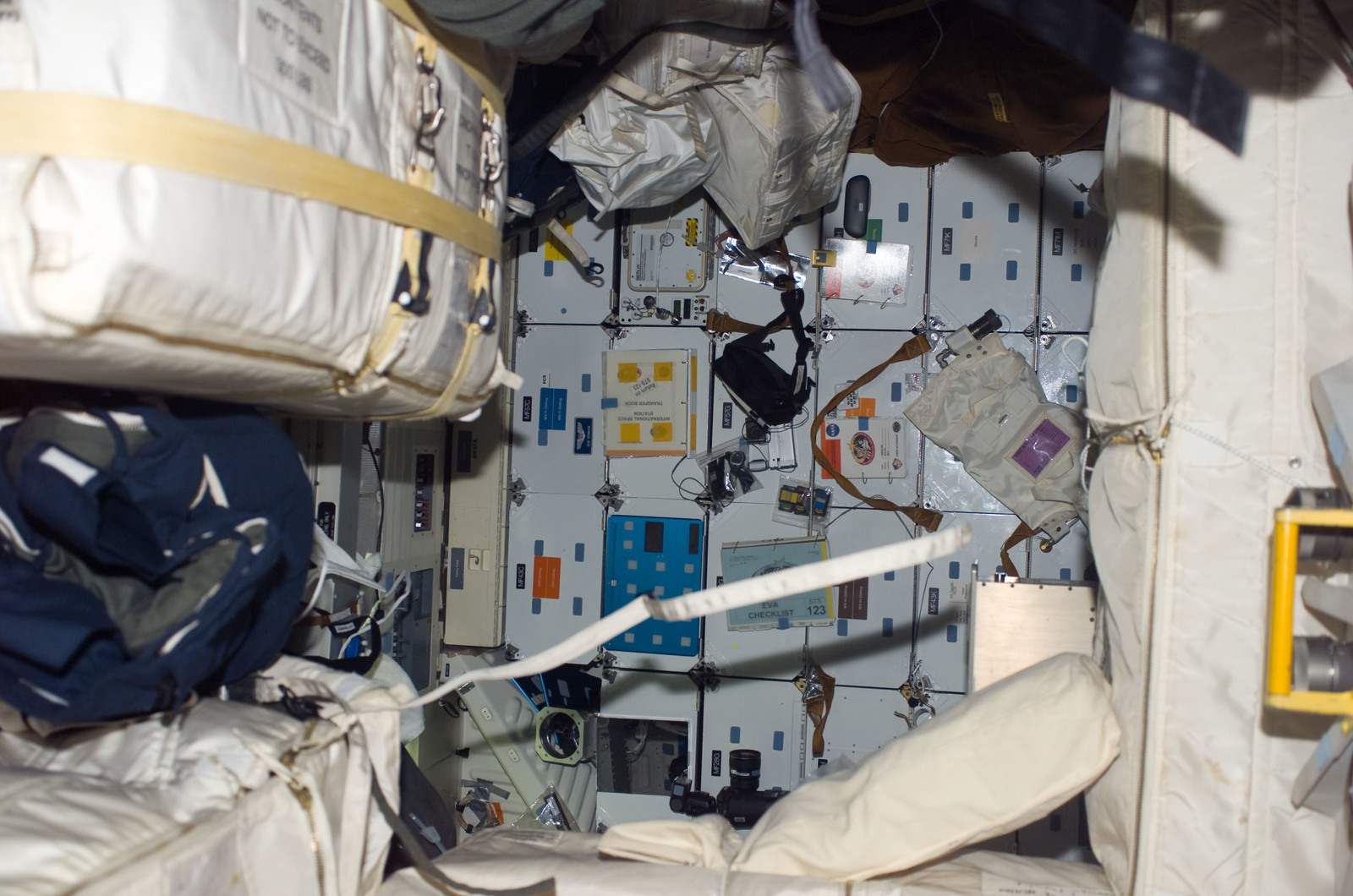 S123E008387 - STS-123 - FWD MDDK lockers on Space Shuttle Endeavour during Joint Operations