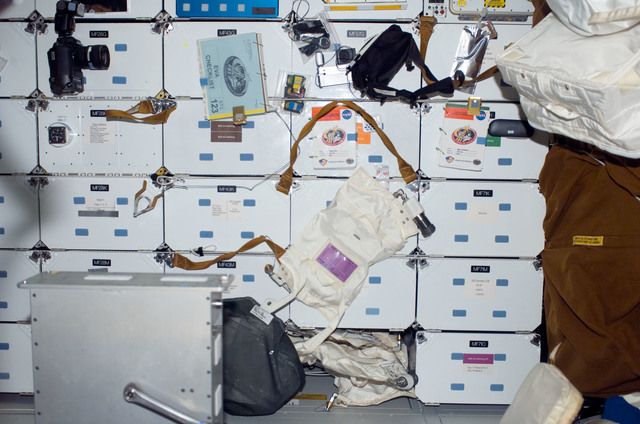 S123E008388 - STS-123 - FWD MDDK lockers on Space Shuttle Endeavour during Joint Operations