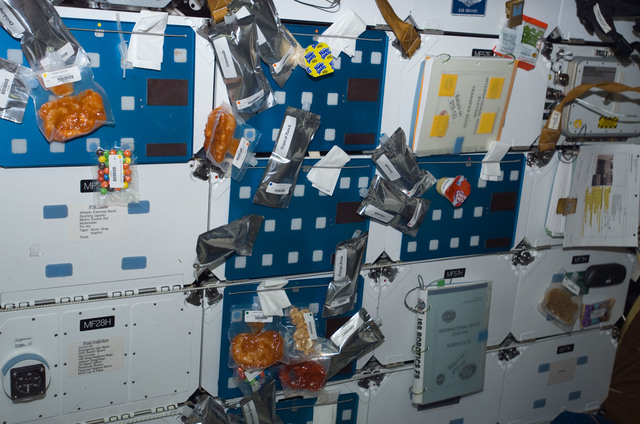 S123E008634 - STS-123 - Food attached to the FWD MDDK lockers during Joint Operations
