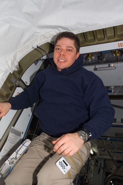 S123E009125 - STS-123 - Behnken at the Node 2 hatch during Joint Operations