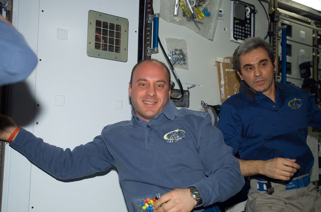 S123E009785 - STS-123 - Reisman and Eyharts in the Node 2 during Joint Operations