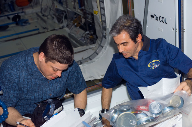 S123E009820 - STS-123 - Behnken and Eyharts look through crew procedures in the Node 2 during Joint Operations