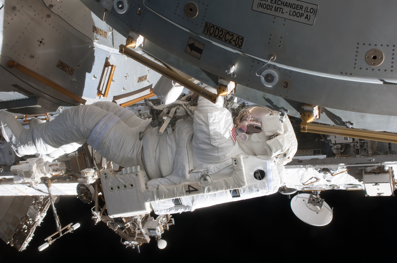 S127E006846 - STS-127 - Kopra at JPM during EVA-1 on STS-127 / Expedition 20 Joint Operations