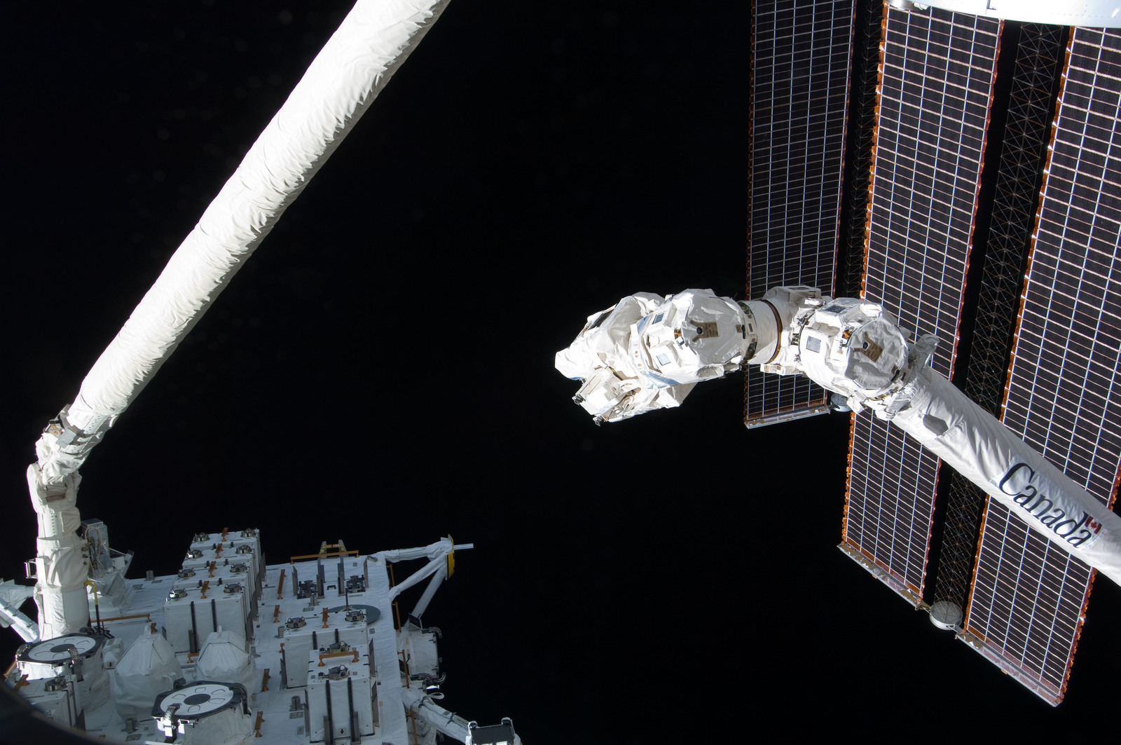 S127E006899 - STS-127 - SRMS handoff to the SSRMS during EVA-1 on STS-127 / Expedition 20 Joint Operations