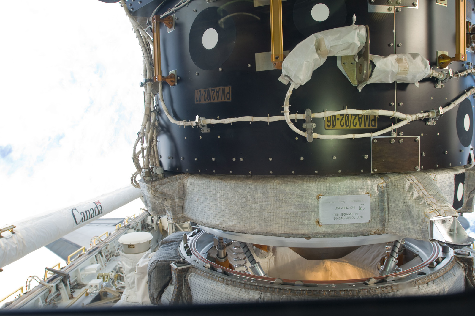 S129E006479 - STS-129 - Close-up view of Docking Mechanism and PMA-2 taken during ISS/STS-129 Docking