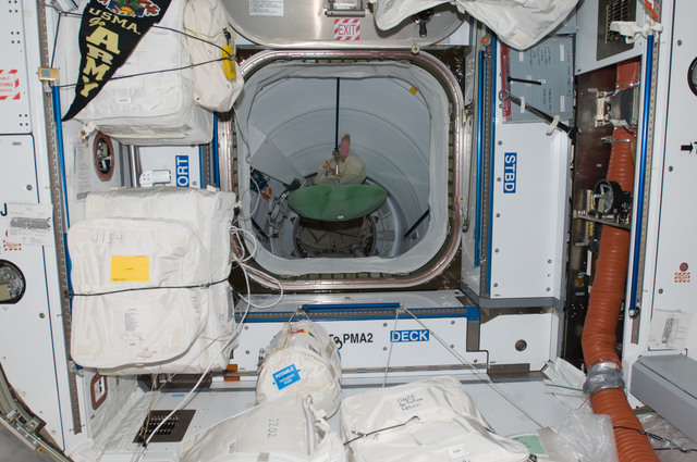 S129E007177 - STS-129 - View of Node 2 FWD Hatch leading to PMA2