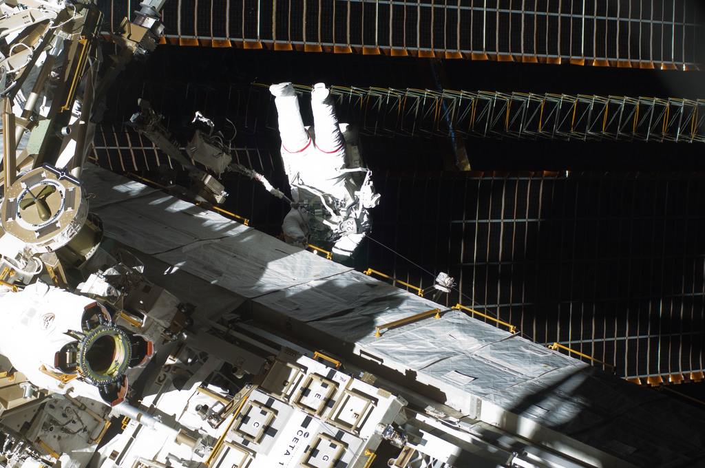 S129E007791 - STS-129 - View of STS-129 MS3 Foreman during EVA2