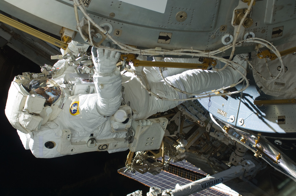 S129E008115 - STS-129 - View of STS-129 MS4 Satcher during EVA3