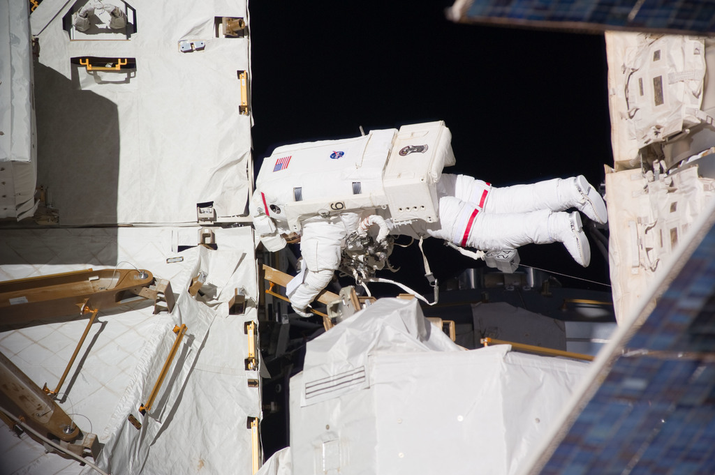 S131E014627 - STS-131 - Mastracchio on S1 Truss during STS-131 EVA 3