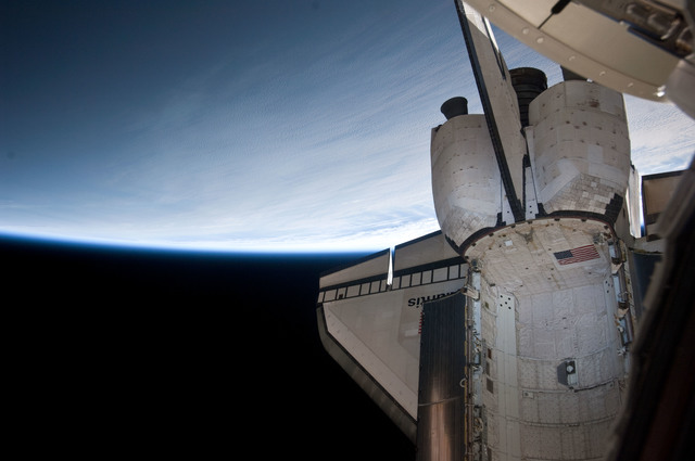 S132E008740 - STS-132 - Aft section of the Space Shuttle Atlantis during Joint Operations