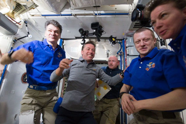 S134E007292 - STS-134 - View of STS-134 and Expedition 27 Crew Members in the Node 2