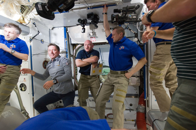 S134E007293 - STS-134 - View of STS-134 and Expedition 27 Crew Members in the Node 2