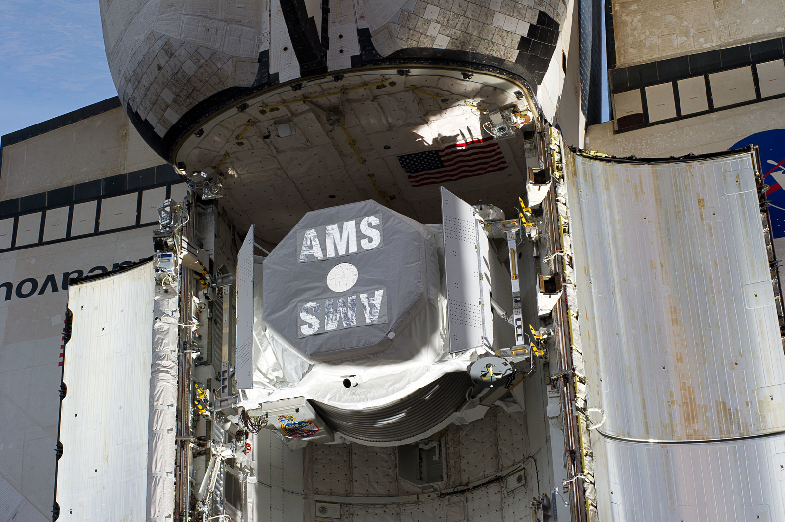 S134E007371 - STS-134 - View of AMS-2 stowed in the Endeavour Payload Bay