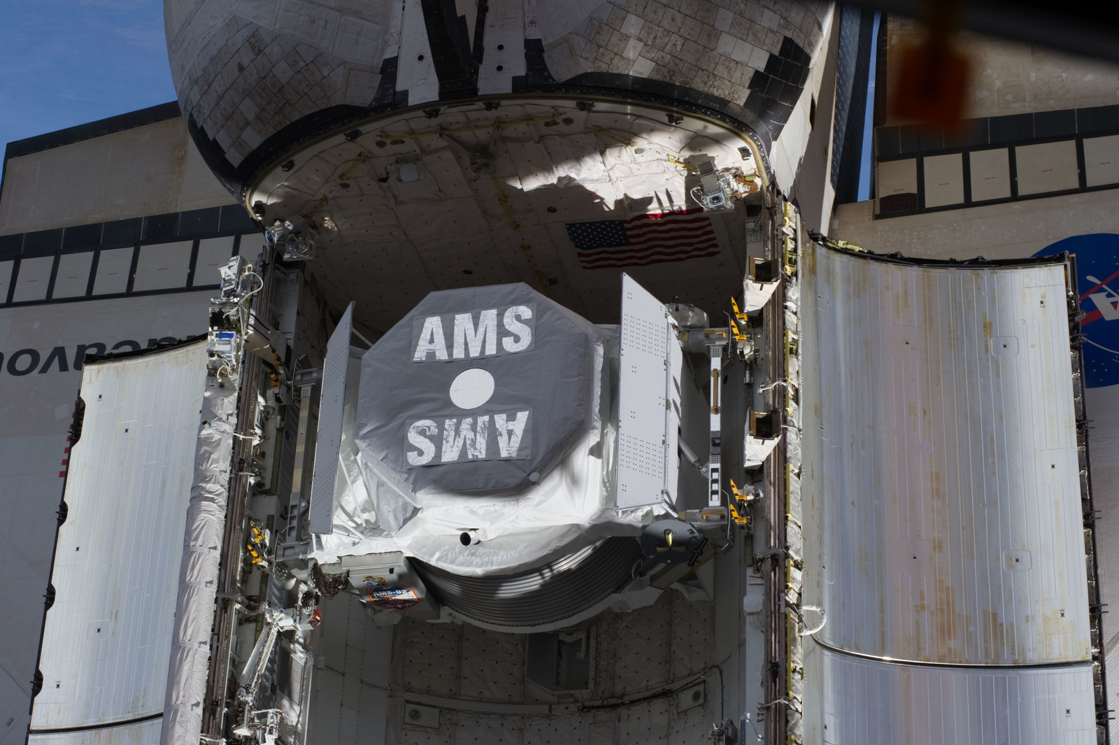 S134E007372 - STS-134 - View of AMS-2 stowed in the Endeavour Payload Bay
