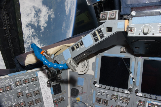 S135E012067 - STS-135 - Partial View of the Commander's Station on the Flight Deck