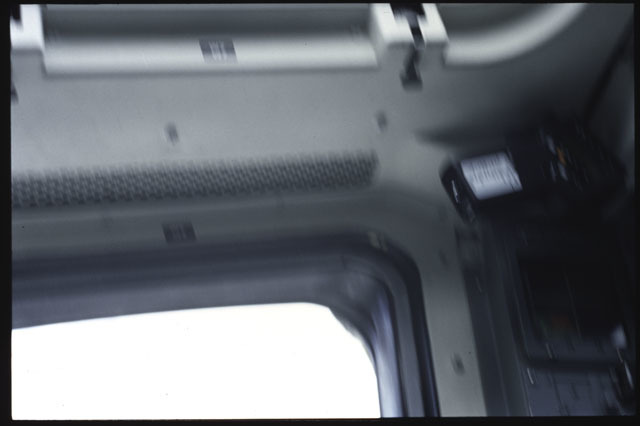 S43-07-001 - STS-043 - A blurry view of the aft flight deck windows on OV-104