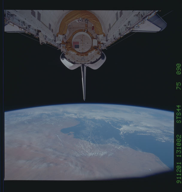 S44-75-090 - STS-044 - OV-104's empty payload bay after the deployment of the DSP/IUS spacecraft