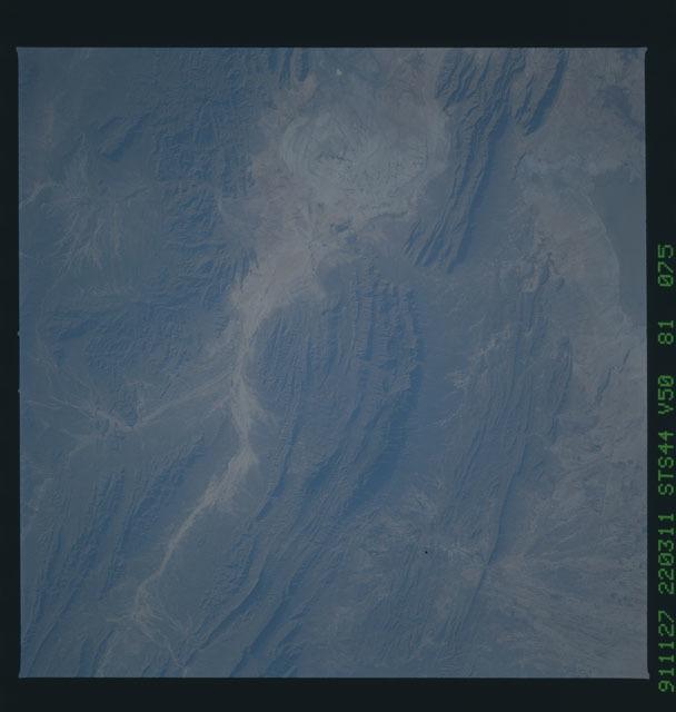 S44-81-075 - STS-044 - Flash Flood Trail near Parras, Coahuila, Mexico